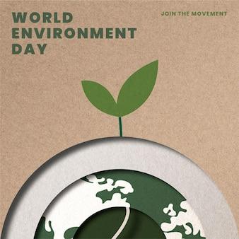 Árbol que crece en la plantilla del globo salva el planeta campaña