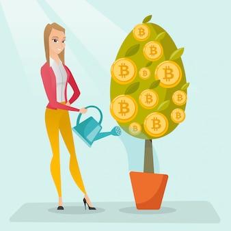 Árbol de riego de la mujer de negocios con las monedas del bitcoin.