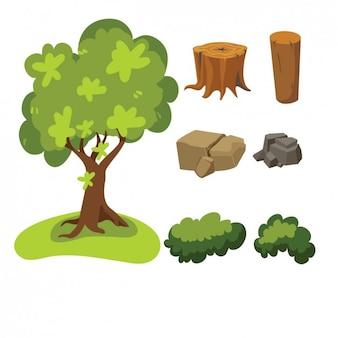 Ärbol, rocas, hojas y tocones de madera