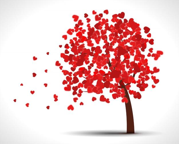 Árbol de san valentín con corazones para su diseño.