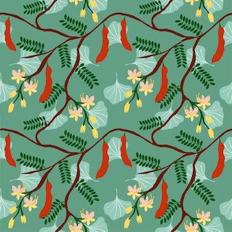 Árbol de tamarindo y patrón de flores sobre fondo verde
