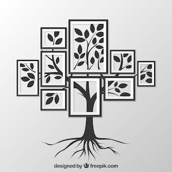 Árbol y varios marcos
