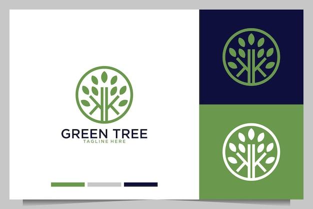 Árbol verde con diseño de logotipo letra k