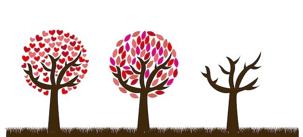 Árboles de amor lindo sobre fondo de hierba ilustración vectorial
