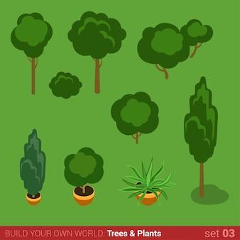 Árboles arbustos plantas plano isométrico conjunto de vectores.