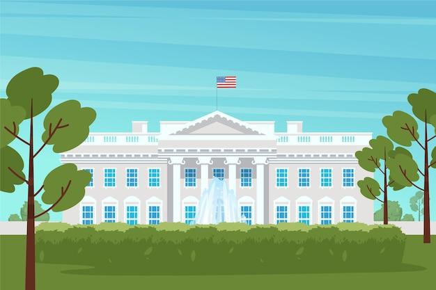 Árboles y casa blanca de diseño plano