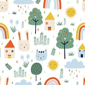 Árboles, casa, sol, gatos y conejos lindos dibujos de patrones sin fisuras sobre fondo blanco.