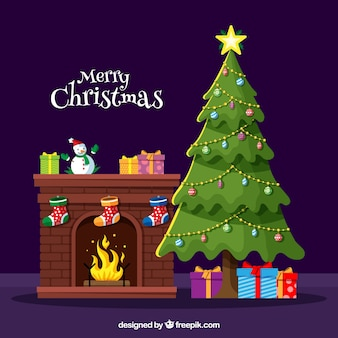 Árboles decorativos de navidad vector gratuito