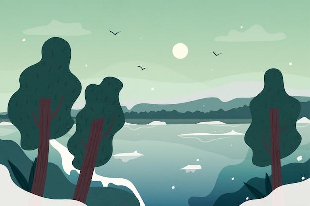 Árboles dibujados en invierno