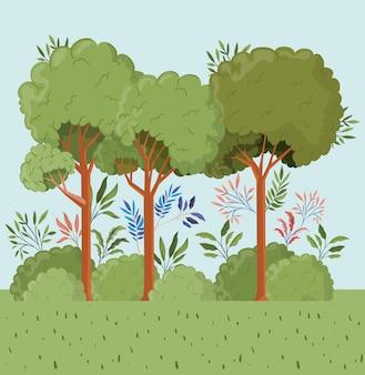 Árboles y hojas con paisaje de arbustos.