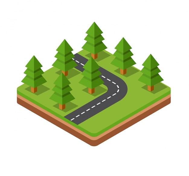 árboles isométricos en espacio tridimensional de la carretera.