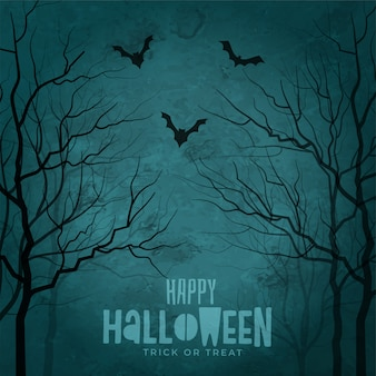 Árboles de miedo con murciélagos volando halloween