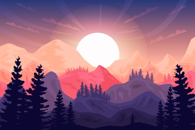 Árboles, montañas y amanecer de fondo