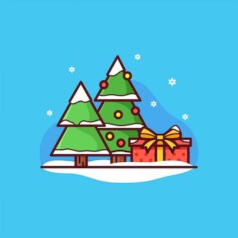 Árboles de navidad y caja de regalo