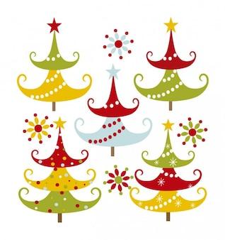 Árboles de navidad coloridos