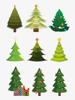 Árboles de navidad con conjunto de iconos