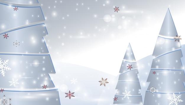 Árboles de navidad con copos de nieve y destellos. antecedentes