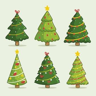 Árboles de navidad dibujados con colección de adornos.