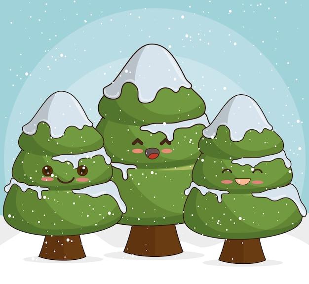 Árboles de navidad nevados en nieve