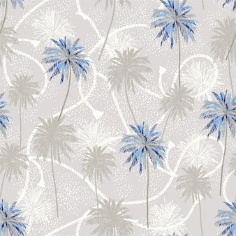 Los árboles de plam tropical capa en marinero cuerda textura verano humor de patrones sin fisuras