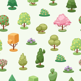Árboles planta elemento de patrones sin fisuras, ilustración. ecología decorativa creativa, paisaje de crecimiento estacional.