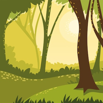 Árboles y plantas forestales prado naturaleza