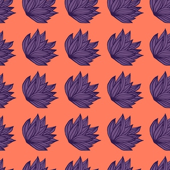 Arbusto brillante hojas de patrones sin fisuras. follaje dibujado a mano en tonos morados sobre fondo coral.