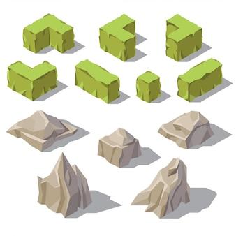 Arbustos verdes isométricos 3d, piedras grises, rocas para el paisaje del jardín. objetos de la naturaleza