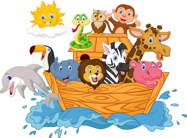 Arca de noé de dibujos animados aislado sobre fondo blanco