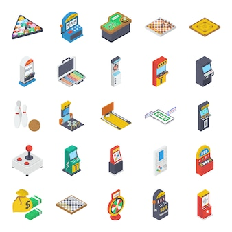 Arcade juegos máquinas iconos isométricos