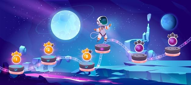Arcade móvil de juego espacial con astronauta saltando en plataformas con bonificación y elementos de activos en el paisaje de un planeta alien
