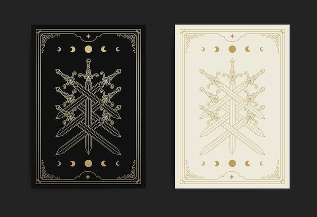 Arcanos menores de la carta del tarot de siete espadas con fases lunares en estilo de arte lineal
