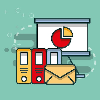 Archivadores de tabla de negocios y oficina de correo