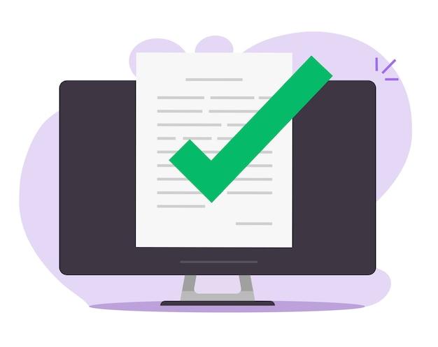 Archivo de documento confirmado aprobado en línea con marca de verificación en el icono de la computadora