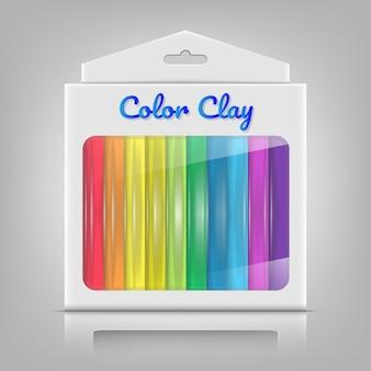Arcilla colorida con caja de paquete de producto