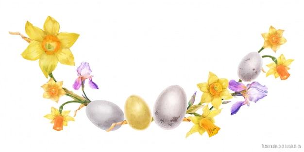 Arco de acuarela de pascua con flores de narciso e iris y huevos de aves