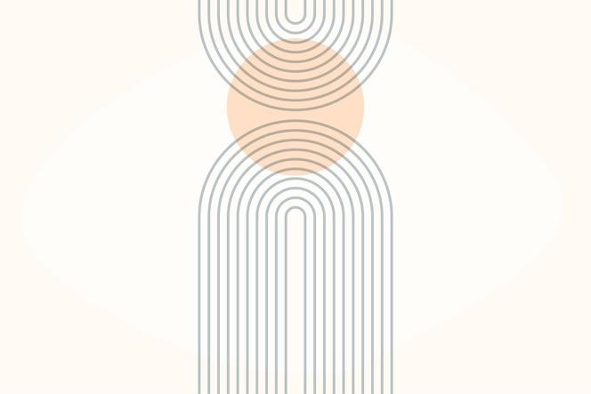 arco arcoiris. impresión de arco boho moderno de mediados de siglo.