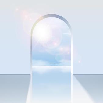 Arco blanco con vistas al cielo azul con reflejo de la luz del sol.