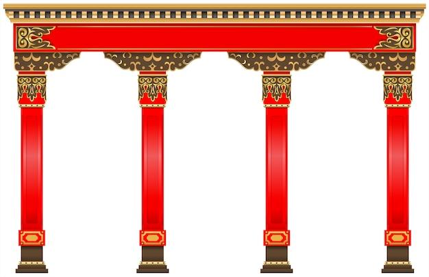 Arco chino oriental columnas de oro rojo talladas