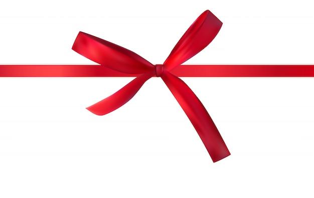 Arco decorativo rojo con cinta roja aislada en blanco 3d realista