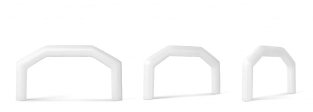 Arco inflable blanco para eventos deportivos y anuncios.