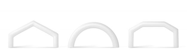 Arco inflable blanco para eventos deportivos.
