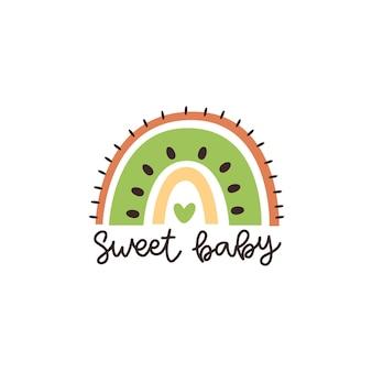 Arco iris abstracto como fruta kiwi e inscripción sweet baby