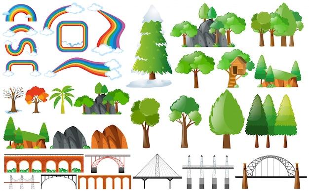 Arco iris, árboles y elementos de diseño
