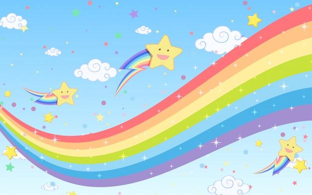 Arco iris en blanco con estrellas sonrientes sobre fondo de cielo azul brillante