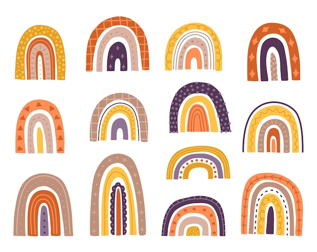 Arco iris de boho para niños, formas abstractas, lindos objetos de colores dibujados a mano y elementos en el moderno estilo de dibujos animados de garabatos. clip art minimalista infantil. colección de ilustraciones vectoriales sobre fondo blanco.