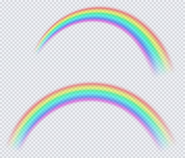 Arco iris de color transparente, arco de un círculo.
