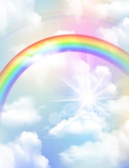Arco iris de colores brillantes y composición realista del cielo