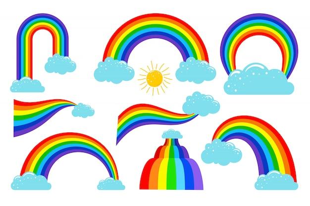 Arco iris de colores con colección de nubes