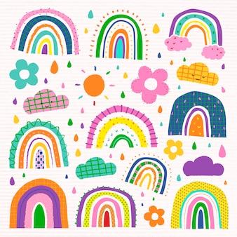 Arco iris de colores en el conjunto de vectores de estilo doodle funky